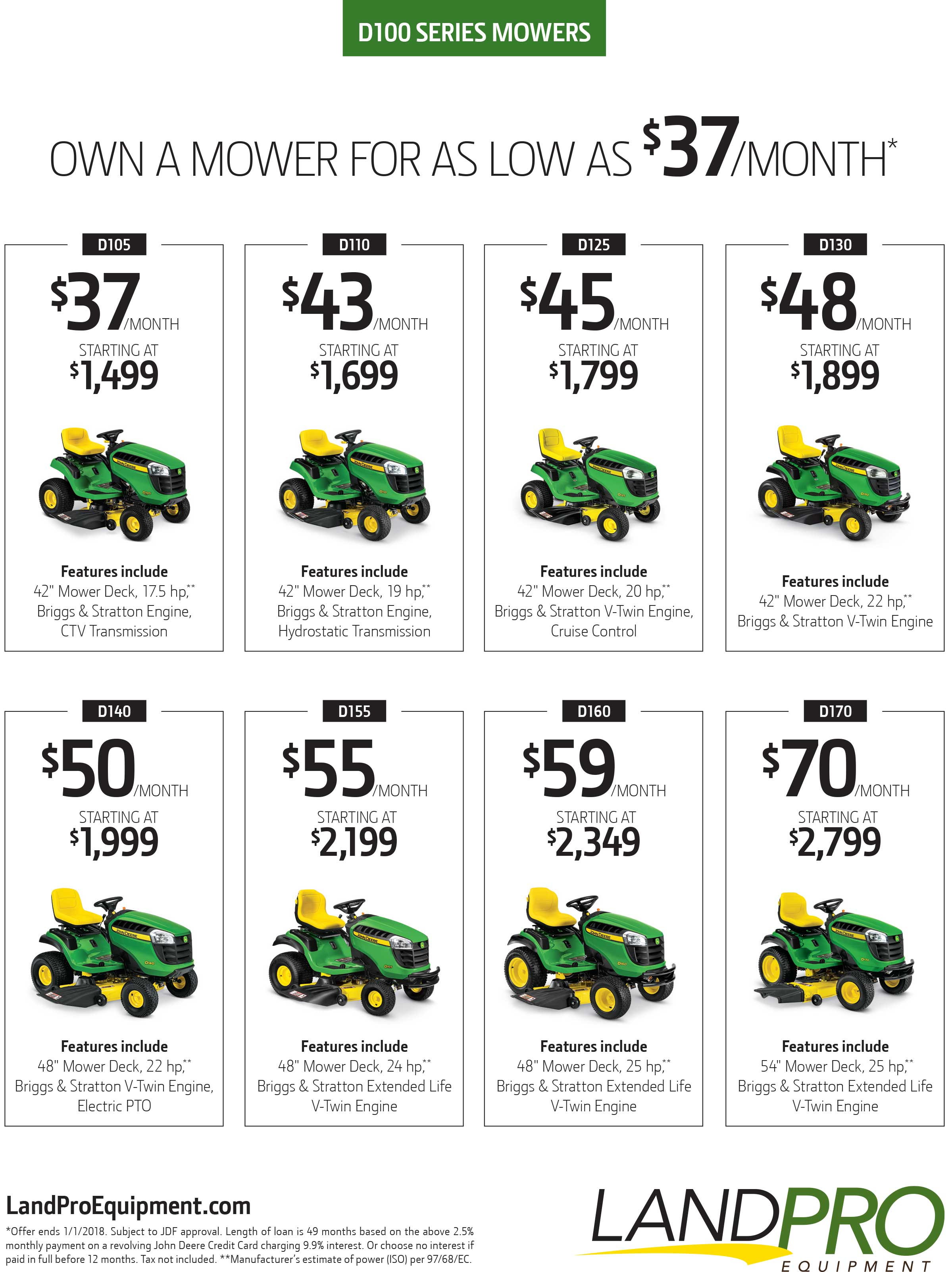 D100 Series Mowers Promotion