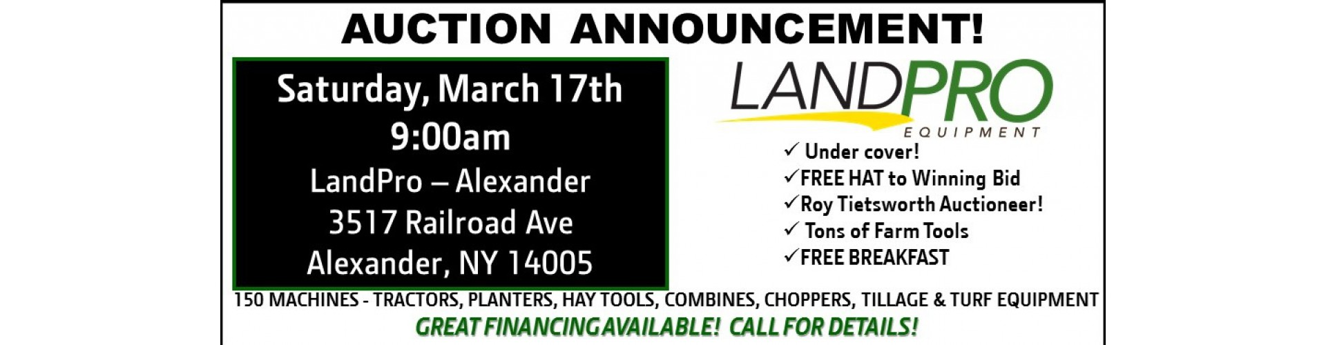 LandPro Equipment announces it's Merger Auction with 250 machines!